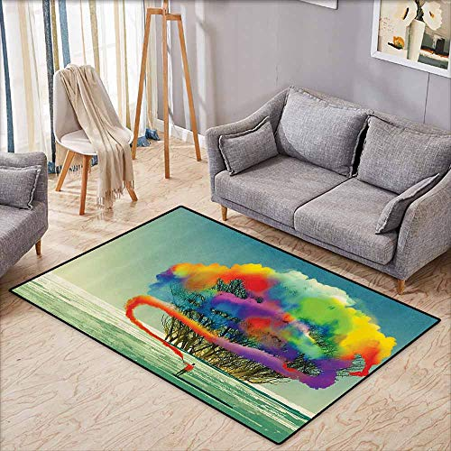- Classroom Rug,Fantasy Art House Decor,Psychedelic Man Draws Abstract Tree with Colored Smoke Flare Be Creative,Ideal Gift for Children,3'3