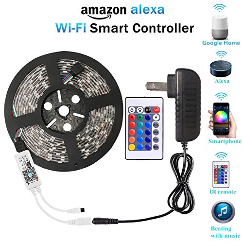 WenTop WiFi Wireless Smart Phone Controlled Led Strip Light Kit with DC12V UL Listed Power Supply Waterproof SMD RGB 5050 16.4Ft(5M) 150leds Work with IOSAndorid, Alexa and Google Assistant