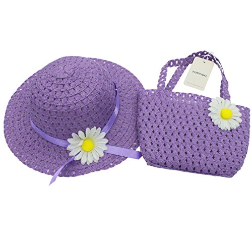 YOPINDO Tea Party Hat Purse Set Dress up Floral Straw Sun Hat Beach Cap with Handbag 1-5 Years Old (Purple) (Party Hat Toddler)
