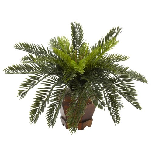 Cycas Plant - Nearly Natural 6657 Cycas with Hexagon Vase Decorative Silk Plant, Green