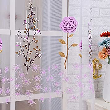 Amazon De Gazechimp Blumen Muster Transparent Voile Tull Vorhang