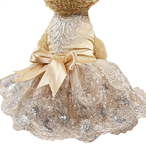 Howstar Pet Dress Lace Princess Wedding Dresses For Dog Puppy Elegant Cute Clothes Soft Silk Apparels
