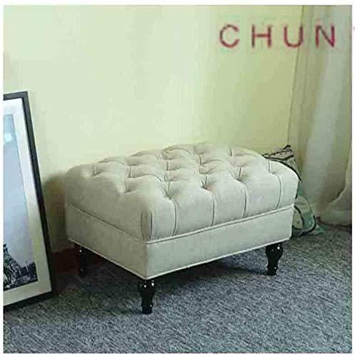 Skobbänk, massivt trä fotstöd linne soffa pall bekväm pall mode sängpall 114 1012
