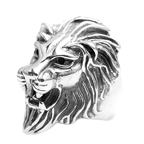 Epinki 925 Sterling Silver Punk Rock Vintage Gothic Lion Head Ring for Men Size 12 by Epinki