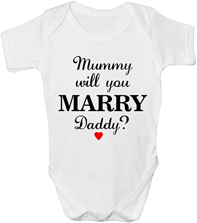 Mummy Will You Marry Daddy 0-24 Marriage Proposal Unisex Baby Grow Bodysuit Gift