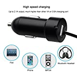 OMorc Wireless FM Transmitter Radio Adapter Car Kit with 3.5 mm Audio Plug and USB Car Charger for Smart Phones - Black