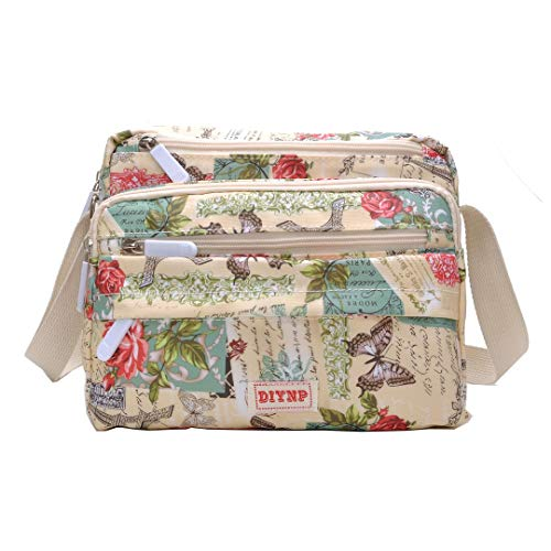 - Multi Pocket Shoulder Bag Corss-body Purse Waterproof Nylon Travel Handbags for Women Fashion Waterproof Bag (50619 Rose)