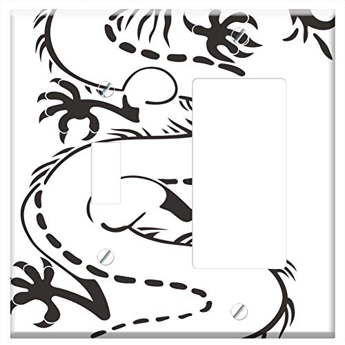 1-Toggle 1-Rocker/GFCI Combination Wall Plate Cover - Dragon Monster Black Tattoo No Background Tee