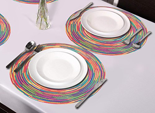 Woven Braided Colorful Round Placemats Heat Resistant Dining Table Mats Non-slip Washable Place Mats Set of 6 by DOZZZ (Image #1)