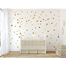 Multi-Size Stars Pattern Wall Decor Stickers For Home Decoration -Removable DIY Vinyl Decal for Kids room Nursery Decor Wall Stickers& Mural (Gold)