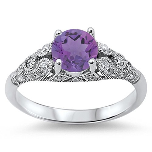 925 Sterling Silver Round Faceted Natural Genuine Purple Amethyst Vintage Wedding Ring Size 6