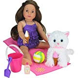 """Sophia's JL-BDS 18"""" Doll Beach Day Set with Bucket, Towel, Ice Cream & More, Pink"""