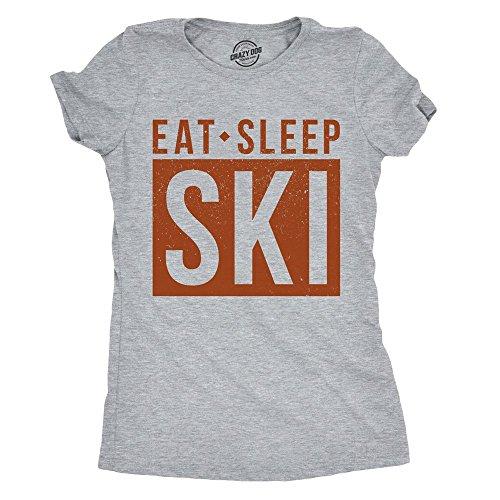 Womens Eat Sleep Ski Tshirt Cool Winter Sports Outdoor Tee for Ladies -M ()
