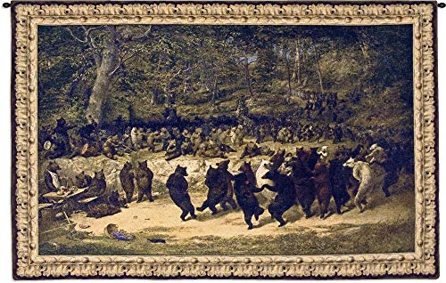 Bear Dance by William Holbrook Beard | Woven Tapestry Wall Art Hanging | Satirical Dance of Bears | 100% Cotton USA Size 53x34