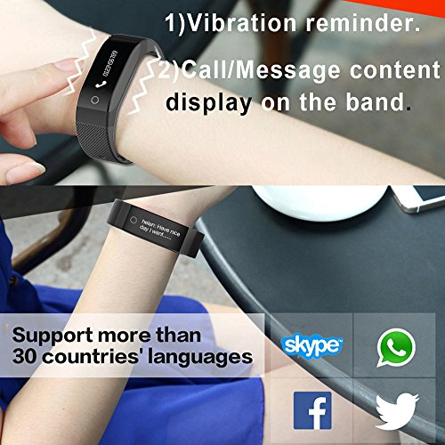 SMA Fitness Tracker, Bluetooth 4.0, Heart Rate sleep Monitor, Waterproof watch, Activity Wristband, Calories Track Step Track Smart Bracelet For iPhone & Android phones Black color Men/Women by SMA (Image #1)