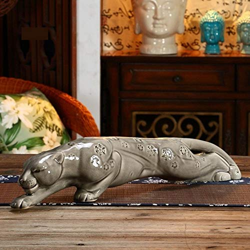 Statues Figurines Sculptures,Gray Porcelain Ceramics Leopard Figurine Decorative Cheetah Statue Wild Animal Craft Ornament for Art Collection and Business Present ()