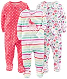 Simple Joys by Carter's Girls' 3-Pack Snug-Fit Footed Cotton Pajamas
