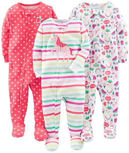 Simple Joys by Carter's Baby Girls' 3-Pack Snug-Fit Footed Cotton Pajamas, Rainbow,Strawberry,Multistripe Unicorn, 12 Months