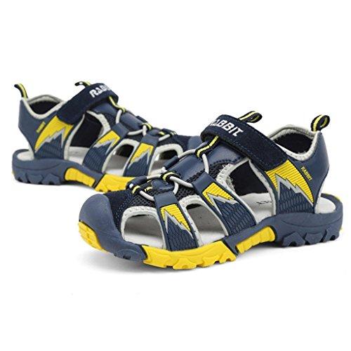 Minetom Jungen Mädchen Sommer Strand Sandalen Klettverschluss Outdoor Wanderschuhe Breathable Schuhe Flach Unisex Kinder Schuhe Dunkelblau