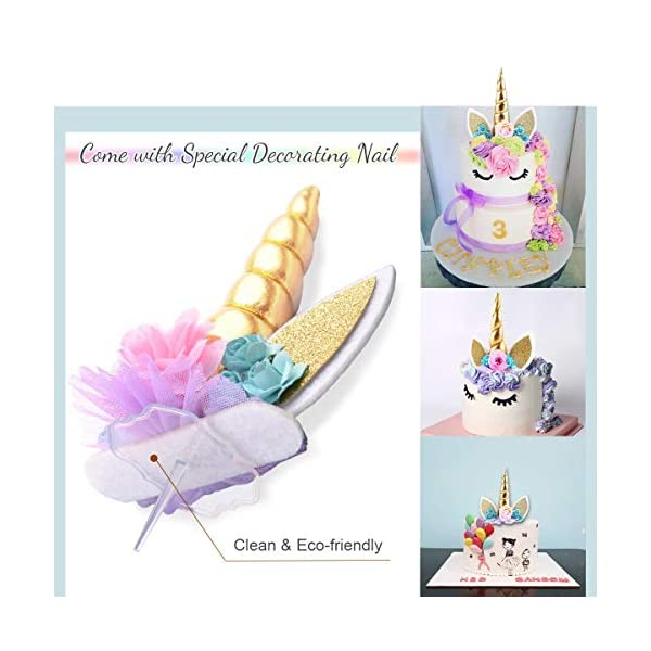 Unicorn Cake Topper,COONOE Handmade Party Cake Decoration Supplies with Eyelashes,Reuasble Gold Horn for Birthday Party,Baby Shower&Wedding 4