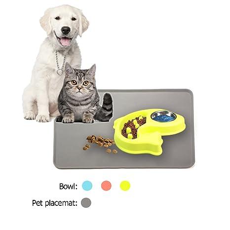 Comedero Perro Comedero Para Animales Pequeños Medium Gran Mascota Perro Gato Comer Alimentos et Alfombrilla Comida