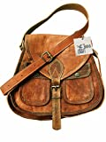 Genuine Leather CrossBody Handmade Vintage Style Bag Travel Bag Business Bag for Women By INDO CRAFT (11x9 x3 inches)
