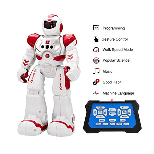 rc hobby shop Remote Control Robots, Kingtoys RC Funny Toys Robots,Interactive Walking Singing Dancing Smart Gesture Sensing Robotics for Kids Boys Girls ,Red