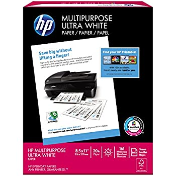 HP Printer Paper, Multipurpose Ultra White, 20lb, 8.5 x 11, Letter, 96 Bright - 500 Sheets / 1 Ream (212500R) Made In The USA