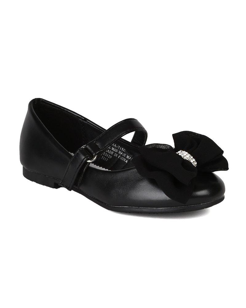 Leatherette Fabric Bow Decor Ballerina Ballet Flat (Toddler/Little Girl/Big Girl) AH64 - Black (Size: Little Kid 1)