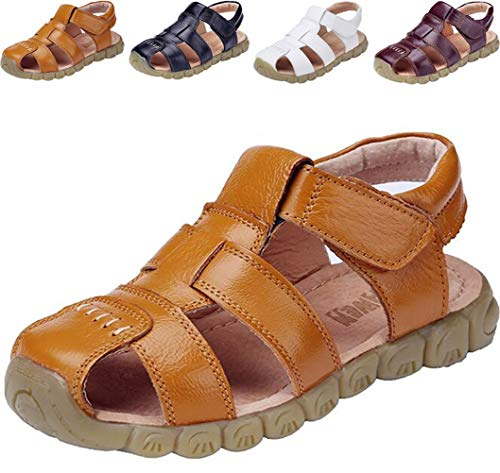DADAWEN Boy's Girl's Leather Closed Toe Outdoor Sport Sandals (Toddler/Little Kid/Big Kid) Yellow US Size 12 M Little - Sandals Boys Yellow