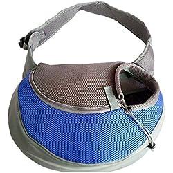 YUDODO Pet Carrier Soft Dog Cat Rabbit Travel Sling Shoulder Bag (Blue, S, fits small animals less than 5lb)