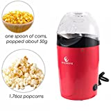 microwave fat free popcorn - E EVERKING Popcorn Machine, Popcorn Maker, 1200W Power Hot Air Popcorn Popper No Oil Needed, With Wide Mouth Design, Includes Measuring Cup and Removable Lid, FDA Approved and BPA-Free