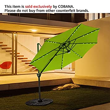 COBANA 10 Offset Patio Umbrella with Solar Powered 32LED and Blue-Tooth Speaker and 360 Degree Rotation Pole, Lime Green