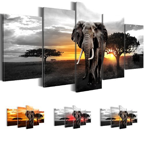 Bilder 200x100 cm in XXL-Format! 0012532c LEINWANDBILDER, KUNSTDRUCK, BILDER aus Premium Vlies Leinwand Elefant African Sunset, 5 Teile ...