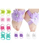 Qandsweet Baby Girl's Barefoots Sandals Flower (10pack) (10 Pairs Chiffon)