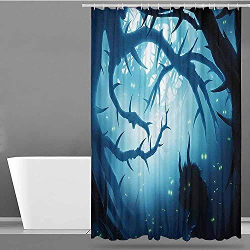 VIVIDX Bathtub Splash Guard,Mystic Decor,Animal with Burning Eyes in Dark Forest at Night Horror Halloween Illustration,Shower Curtains in Bath,W72x84L Navy White -