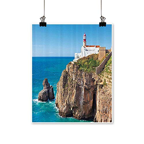 - Single Painting time Rocky Lighthouse Shore Seaside Rocks Building Cliff Sunny Clear Office Decorations,24
