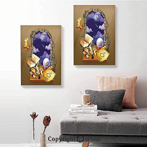 SfeatruRWF Canvas murals,Medieval Ancient Castle Window with Crystal Ball Clouds Parchment Decorative,16