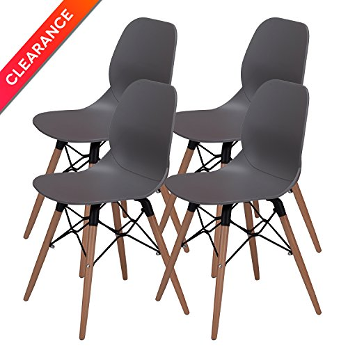 OTTITI Mid Century Modern Dining Room Chairs - Eames Style DSW Side Chair with Tufted Wooden Leg and Upgraded Base, Grey, Set of 4 Check Armless Lounge Chair