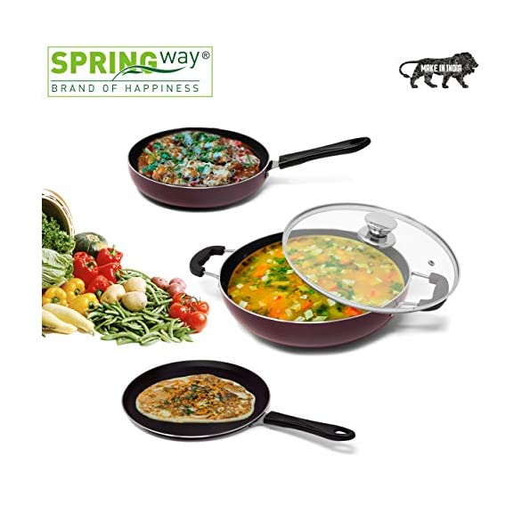 SPRINGWAY-Brand-of-Happiness-Induction-Base-Non-Stick-Aluminium-Cookware-Set-4-Pieces-Maroon