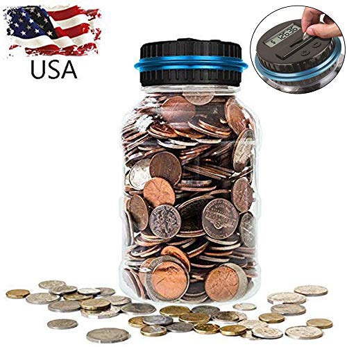 Anywayled Digital Coin Counter Coin Bank Savings Jar, Piggy Bank Large Money Saving Box With LCD Display, Automatic Counting All US Coins for Office Home Kitchen Adult Kids Learning Teaching Xmas Gift