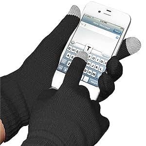 Amzer - Guantes de punto capacitivos para smartphones, iPad, iPhone, Blackberry, Samsung, LG, HTC y Sony Ericsson, color negro