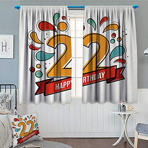 22nd Birthday Room Darkening Curtains Colorful Anniversary Invitation Typography Design with Modern Graphic Print Customized Curtains 55