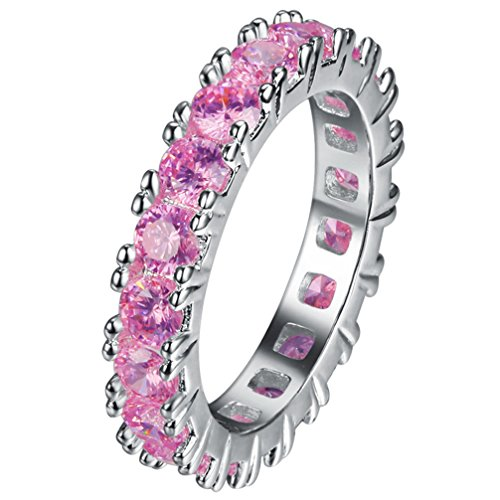 FENDINA Womens Silver Plated Pretty Pink CZ Crystal Promise Engagement Wedding Bands Bridal Eternity Anniversary Rings for Her Valentin's Day (Artcarved Wedding Bands Eternity Ring)