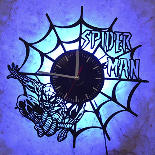 Spiderman Superhero Svg Led Light Vinyl Record Wall Clock - Get Unique Bedroom or livingroom Wall Decor - Gift Ideas for Boys and Girls Perfect Element of The Interior Unique Modern Art