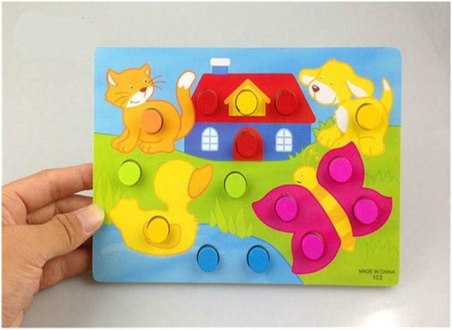 ZYHZP Dibujos Animados de Animales educativos de Madera a Juego con Cuentas Geometría Reloj Digital Gadgets Puzzles Reloj de Juguete for niños (Color : Amimal Jigsaw)