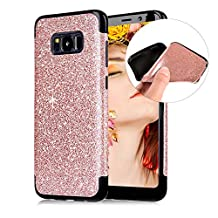 Cistor Glitter Case for Samsung Galaxy S8,Luxury Bling Diamond Sparkle Flash Powder Back Cover Shockproof Flexible Soft TPU Silicone Case with Free Ring Kickstand for Samsung Galaxy S8,Rose Gold