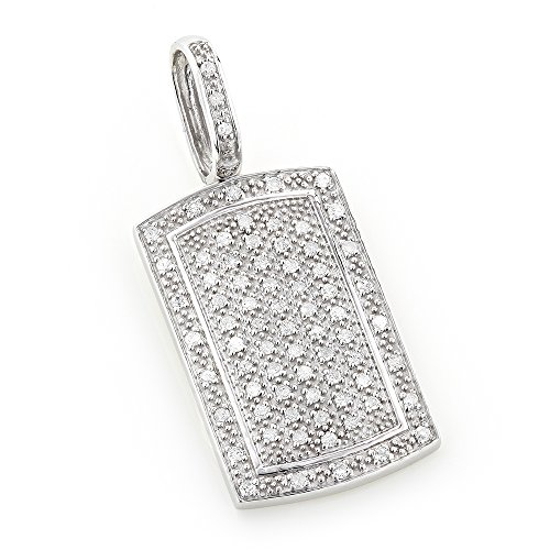 Luxurman 14K Natural Diamond Dog Tag Pendant Round 0.5 Ctw Sparkling Diamonds (White (White Gold Dog Tag Pendant)