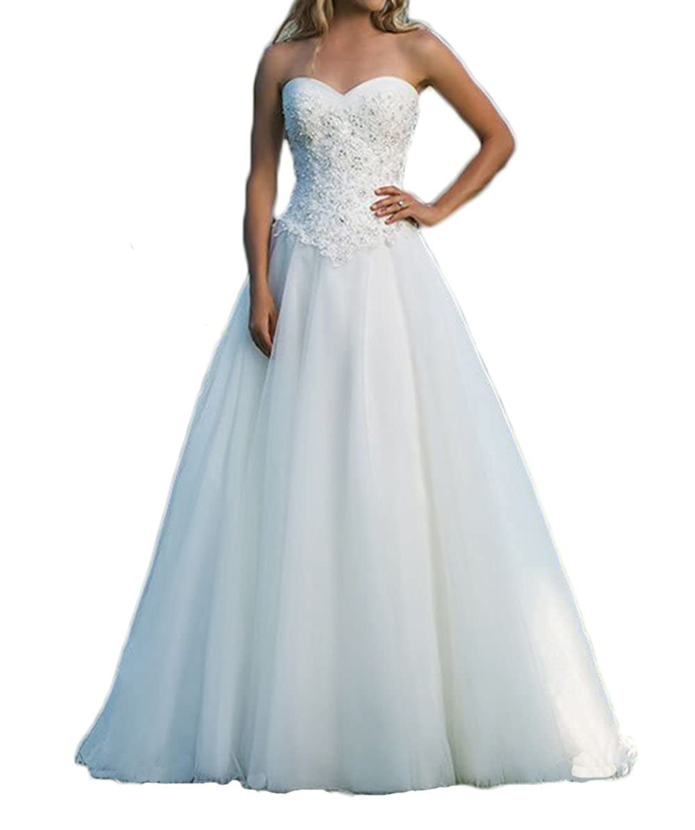 Bivory alilith.Z Gorgeous Beaded Rhinestones Tulle Wedding Dresses Bride Ball Gown Sexy Sweetheart Bridal Gowns 2018 Train