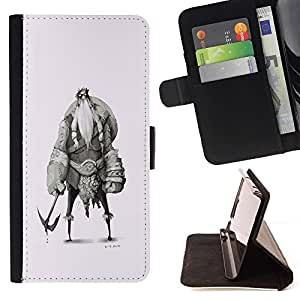 Momo Phone Case / Flip Funda de Cuero Case Cover - Vikingo Sketch Carácter Shield Warrior - LG G3